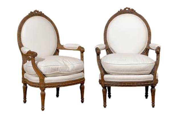 SOLD - Pair of French Louis XVI Style Upholstered Armchairs from the Early 19th Century