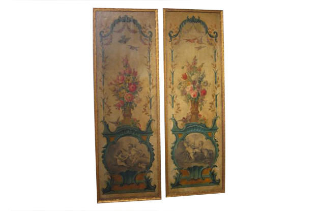 Pair of 18th Century Painted Panels - Flora, Fauna and Birds- Louis XV Mizz