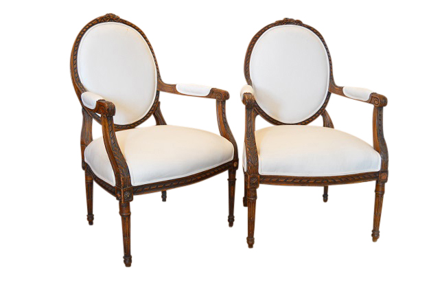 Pair of 19th Century Walnut Chairs - Louis XV Style - c.1850.