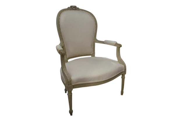 Pair of Painted Louis XVI Style Arm Chairs -Mizz
