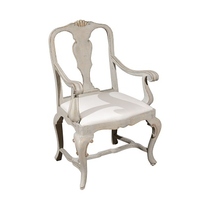 Venetian 1810s Rococo Style Painted Wood Armchair with Parcel-Gilt Accents
