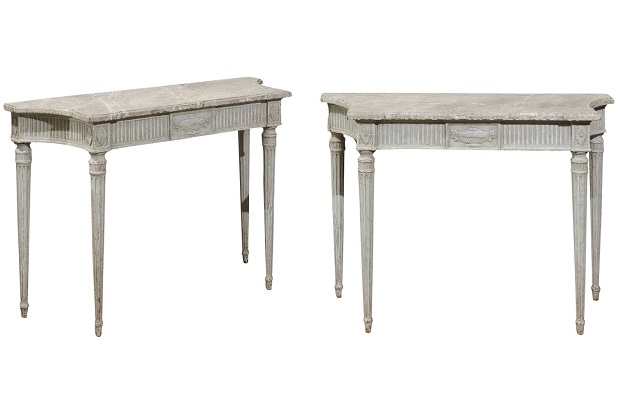 1860s Louis XVI Style Console Tables with Marbleized Tops and Carved Vases