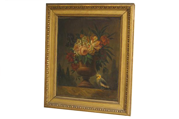 French 18th Century Framed Oil on Canvas Still Life Painting with a Parakeet