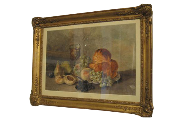 French 19th Century Framed Watercolor Signed Redelsberger, Circa 1887