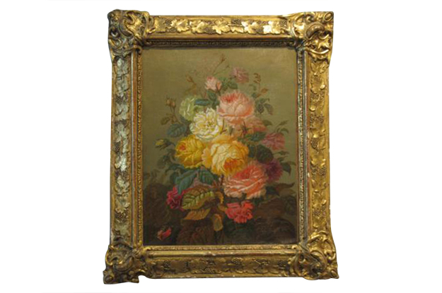 French Early 19th Century Still Life of Roses in Original Frame and Signed Jules Trager,  Circa 1838