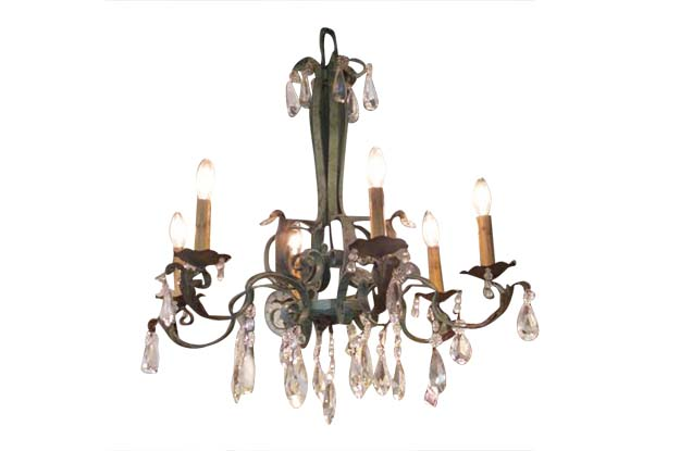 French 19th Century Metal and Crystal Chandelier, Circa 1890