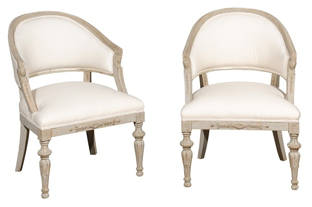 Pair of Swedish Neoclassical Style 19th Century Barrel-Back Upholstered Chairs