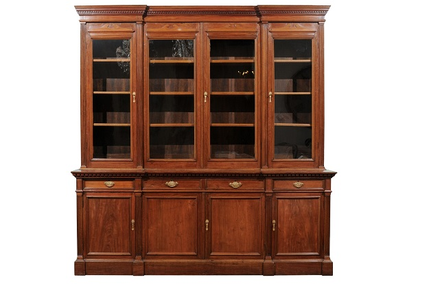 French 19th Century Louis XVI Style Blond Mahogany Bibliothèque with Glass Doors