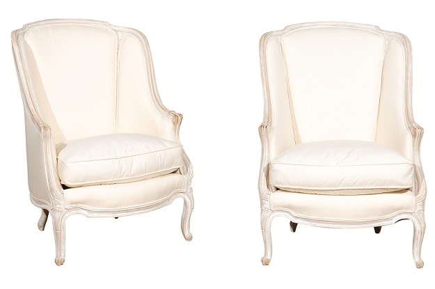 Pair of French Louis XV Style 19th Century Painted Bergeres with Cabriole Legs