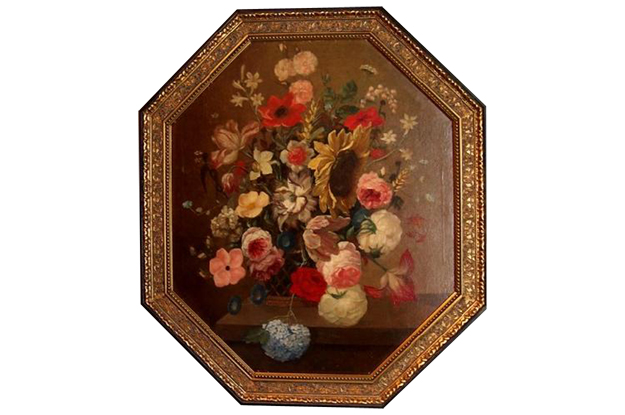 French Early 19th Century Oil On Canvas Painting of Flowers in an Octagonal Frame, Circa 1820