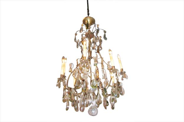 French 19th Century Crystal Chandelier with Clear and Smokey Crystals Circa 1890