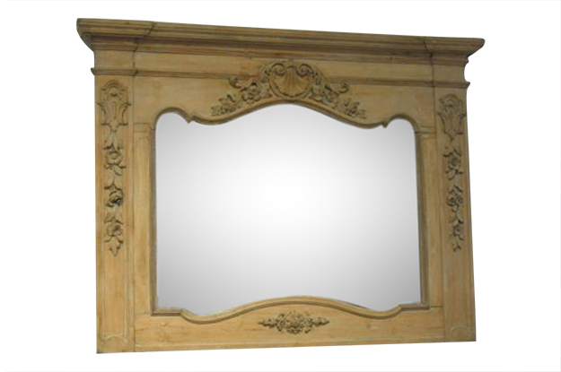 19th Century French Carved Overdoor with Mirror Louis XV  TOHH