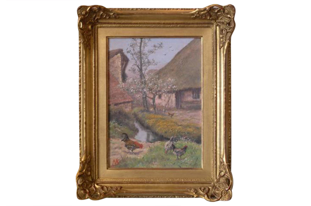 French Early 19th Century Framed Farmyard Scene Signed Alfred de Knyff