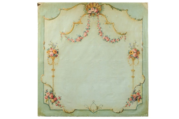 French 18th Century Flora Painted Canvas Panel from a Loire Valley Manor