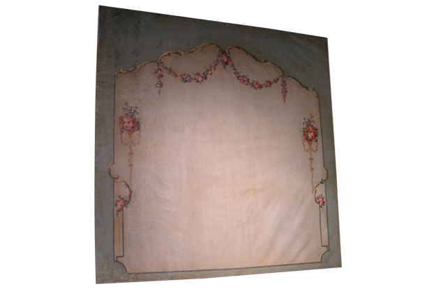 French 18th Century Painted Canvas Panel from Angers Manor. Pent
