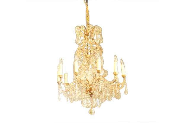 Italian 1850s Rococo Style 10-Light Crystal Chandelier with Gilt Metal Armature