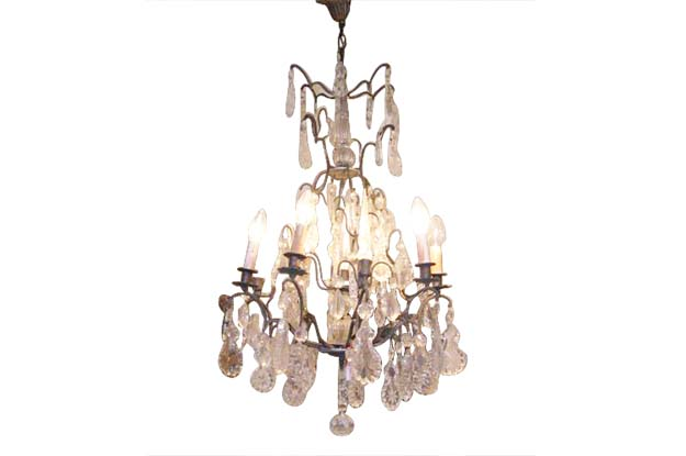 French 19th Century Crystal and Iron Chandelier