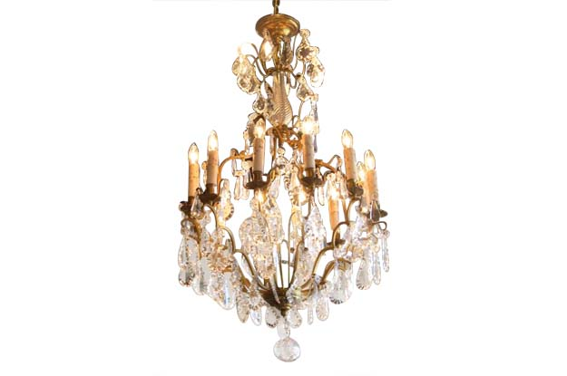 French 19th Century Brass and Crystal Chandelier c.1890