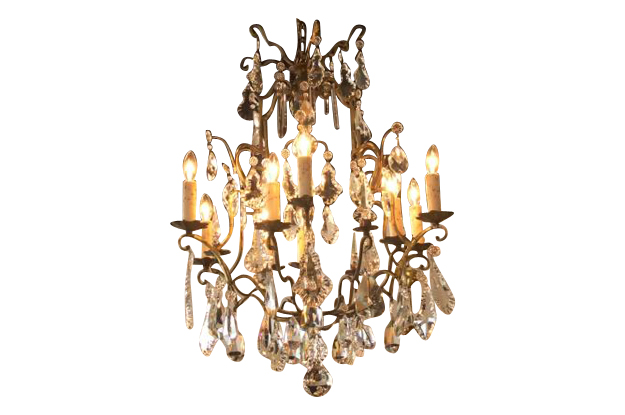 French 19th Century Brass and Crystal Chandelier C. 1890