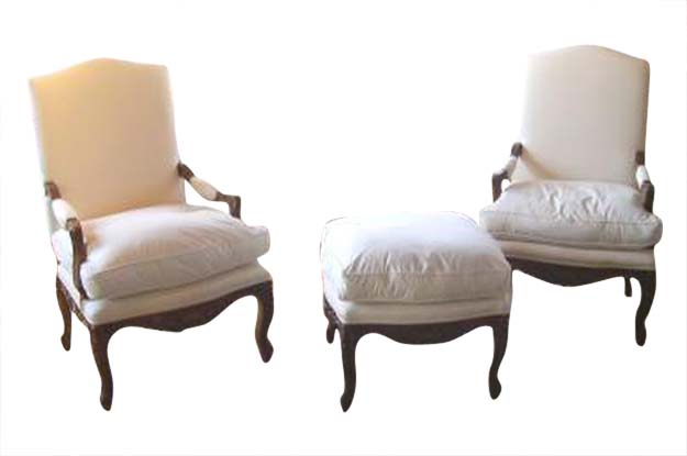 Two Chairs and One Ottoman in the Regence Style Circa 1850