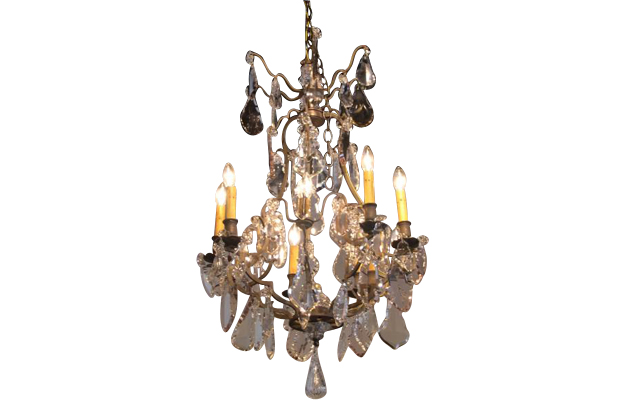 French 19th Century Iron and Crystal Chandelier Circa 1840