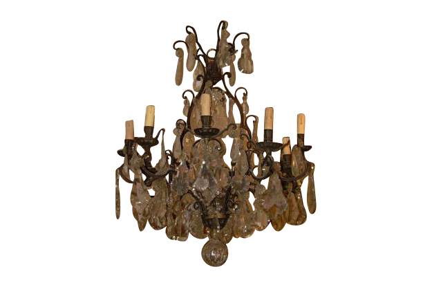 Italian 19th Century Iron and Crystal Chandelier, Circa 1860