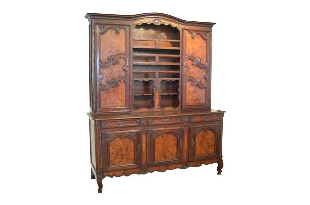 French Early 19th Century Walnut Vaisselier from Bresse. Burl Wood Inset Panels. Circa 1820
