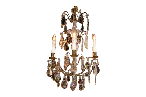 French 19th Century Iron and Crystal Chandelier, Circa 1890