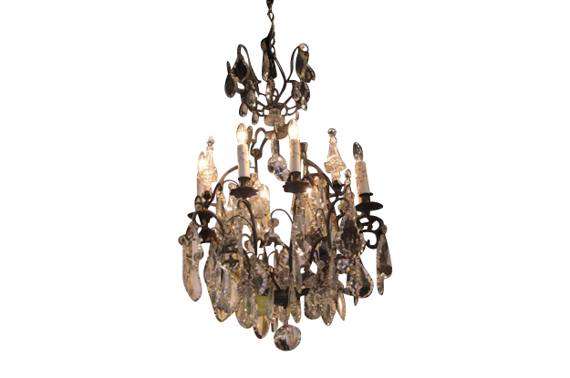 French 19th Century Iron and Crystal Chandelier Circa 1890