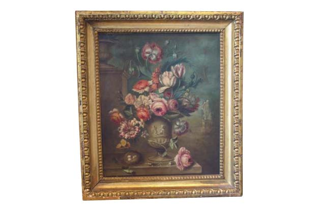 French 19th Century Framed Still Life Oil on Canvas, Circa 1850
