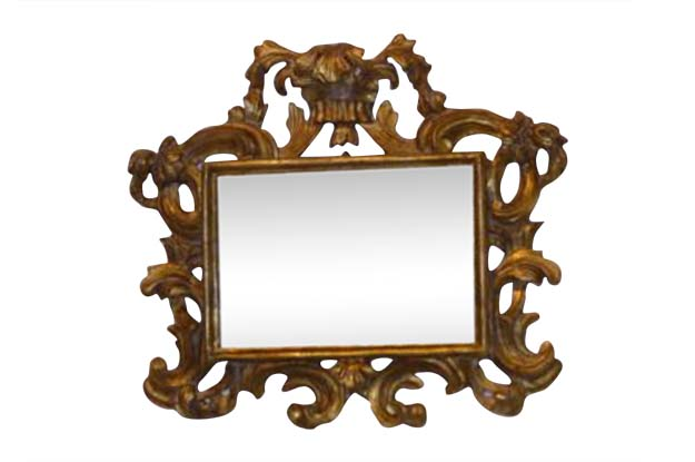 Pair of Italian Rococo Style Carved Giltwood Mirrors with Scroll Motifs, 1890s