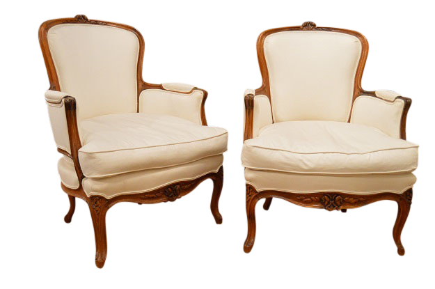 French Late 19th Century Pair of Walnut Louis XV Style Chairs, Stamped
