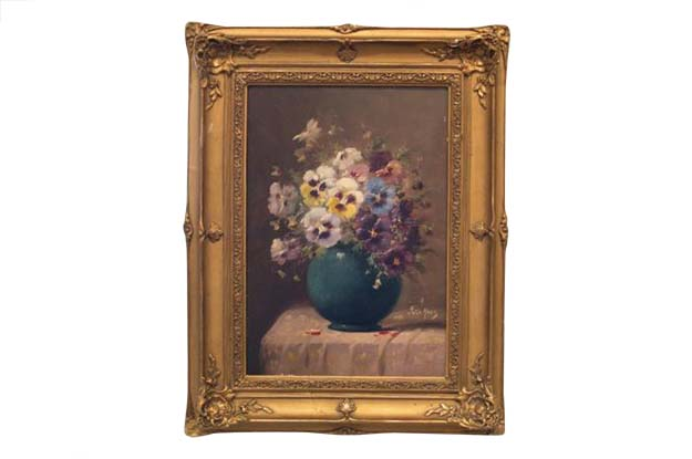 French 19th Century Still Life Oil Painting of Pansies. Signed. Circa 1900