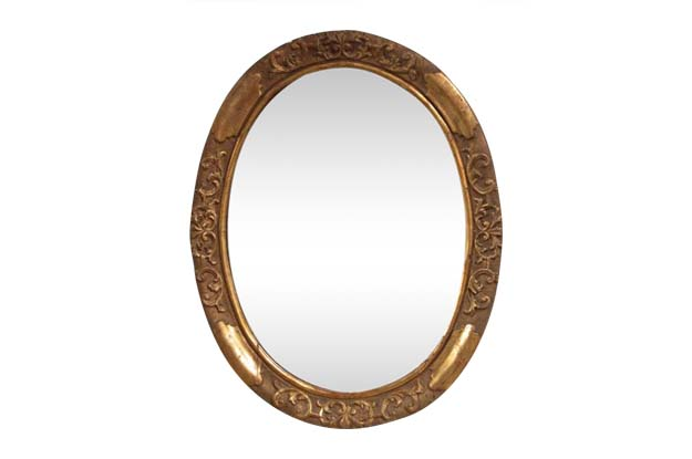 19th Century Italian Carved Giltwood Glass Oval Mirror-Benton
