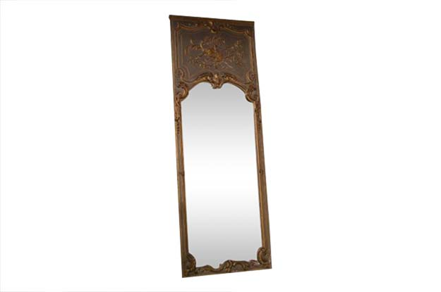 19th Century French Louis XV Wood Trumeau Wood Mirror