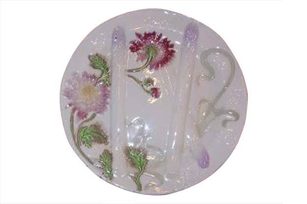 French Majolica Asparagus Dinner Plates with Colorful Flowers, Nine Available