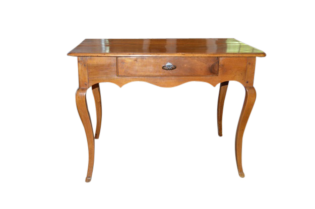 French 18th Century Period Louis XV Walnut Table with Cabriole Legs and a Center Drawer