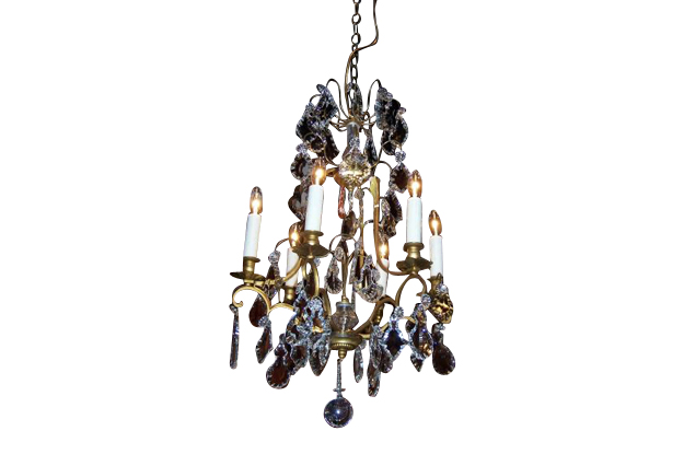French 19th Century Crystal and Brass Chandelier, circa 1898