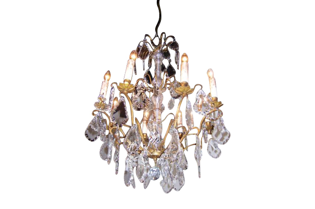 French 19th Century Crystal and Brass Chandelier, circa 1860