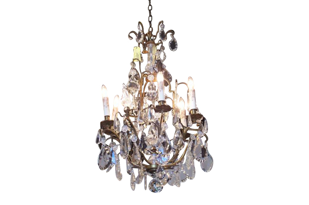 French 19th Century Crystal and Brass Chandelier, circa 1890