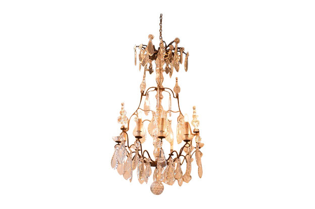 French 19th Century Crystal and Iron Chandelier, circa 1840