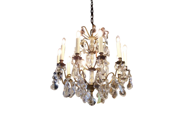 French 19th Century Ten light Crystal and Brass Chandelier, Circa 1900