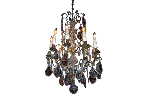 French 19th Century Crystal and Brass Chandelier Circa 1900